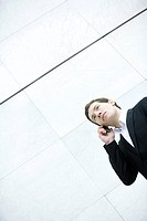 Businessman talking on cell phone, low angle view