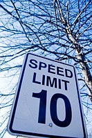 Traffic sign reading, 'Speed Limit 10'
