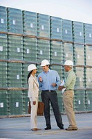 Businesswoman meeting with foremen on dock