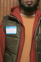 Man wearing blank nametag