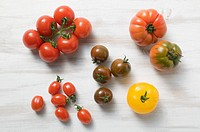 Various types of tomatoes overhead view