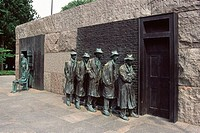 Franklin Delano Roosevelt Memorial, Statue of Great Depression bread line, Washington, DC, USA