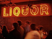 Neon liquor sign in bar