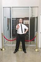 Man guarding computer server