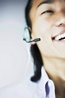 Smiling man wearing headset
