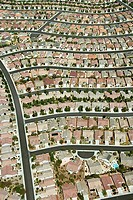 Aerial view of suburbia in Paradise, Nevada