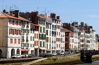 France, Aquitaine, Bayonne, Vieux Bayonne district, facades