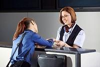 Customer service representative helping a customer