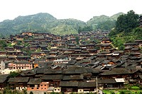 China, Guizhou, Xijiang village, general view