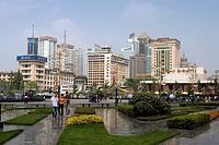 China-April 2008. Sichuan Province-Chengdu City. People´s Square