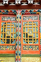 China, Sichuan, near Danba, Tibetan traditional dwelling, colored window