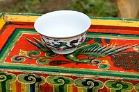 China, Sichuan, decorated bowl and chest
