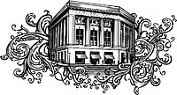 Old bank building on floral background shapes