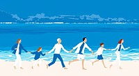 A family running on a beach together