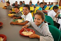 NAMIBIA  Children eating lunch at Rehobeth Primary School