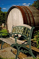 Bench with wine barrel, Yakima County, Washington, USA