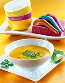 Cold soup with carrot, orange and coriander _ Recipe of Guy Martin _ Le Grand Véfour Restaurant _ Paris _ France