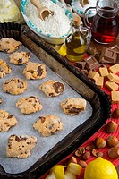 Tozzetti, biscuits from Tuscany made with wine, chocolate, hazelnuts, butter, olive oil, flour, lemon and sugar