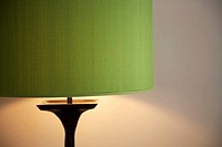 Standard lamp with light switched on
