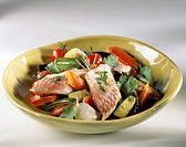 Salad with preserved vegetables, red mullet fillets and coriander