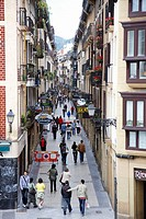 Fermin Calbeton street in the old town, San Sebastian, Guipuzcoa, Basque Country, Spain