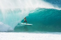 Hawaii, Oahu, North Shore, Pipeline, surfer, riding a wave.