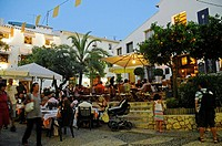 Street cafe, restaurant, people, food, catering, square, historic town, evening, Altea, Costa Blanca, Spain, Europe