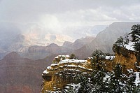 Snow, South Rim, Grand Canyon, Arizona, USA. Snow at Grand Canyon