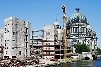 Ruins of the Palast der Republik of the former DDR, Berliner Dom Cathedral in the back, Berlin, Germany, Europe