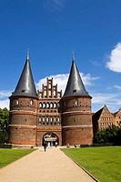 Holstentor Gate, landmark of the Hanseatic city of Luebeck, UNESCO World Cultural Heritage Site, Schleswig-Holstein, Germany, Europe