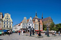 St. Mary's Church on the market square, Rostock, Mecklenburg-Western Pomerania, Germany, Europe