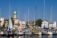 Boats in the marina on the channel, Am Strom, lighthouse, Warnemuende, Rostock, Mecklenburg_Western Pomerania, Germany, Europe
