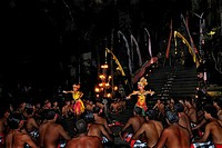 Female dancers during a performance of Kecak, Ketjak or Ketiak Dance in Ubud, Bali, Indonesia, Asia