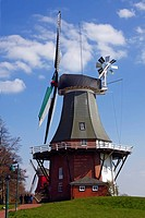 Twin mill in Greetsiel, windmill, built in the style of a two_storey Dutch gallery windmill with a wind rose, Krummhoern Greetsiel, Eastern Frisia, Lo...