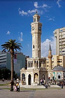 Historic clock tower at the Konak Square, Izmir, Turkey