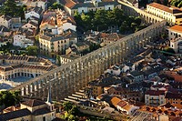 Aerial view on Roman aqueduct, Segovia. Castilla-Leon, Spain