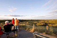 Visitors on a dune lookout, Spiekeroog Island, East Frisian Islands, Lower Saxony, Germany, Europe