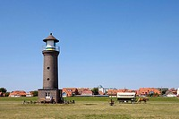 Lighthouse and view of Juist Island, East Frisian Islands, East Frisia, Lower Saxony, Germany, Europe