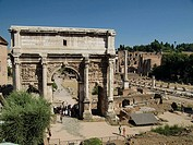 Arch of Septimius Severus in the Roman forum, Rome. Italy