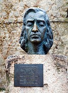 Bust of Chopin in front of the Charterhouse of Valldemossa, Majorca, Balearic Islands, Spain, Europe