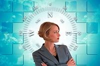Digital montage with businesswoman