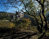 Autumnal atmosphere, view of Eltz Castle, Wierschem municipality, Eifel Mountain Range, Rhineland_Palatinate, Germany, Europe