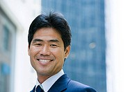 Smiling japanese businessman