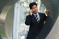 Japanese businessman on the phone