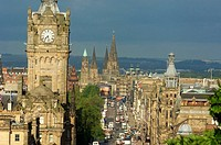 Balmoral Hotel tower and Princes estreet from Calton Hill  Edinburgh  Lothian Region  Scotland  U K