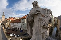 Statue on charles bridge prague