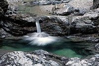 Small waterfall on the Vomperbach Stream, Karwendel Mountain Range, North Tyrol, Austria, Europe