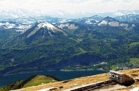View of Wolfgangsee Lake and its mountain region, in the front the end of the cog railway, Salzburg, Austria, Europe