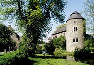 Lower Rhenish moated castle, Haus zum Haus, Ratingen, North Rhine-Westphalia, Germany, Europe
