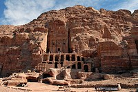 Urn-gravesite on the King's Wall, tombs carved out of the cliff in the ancient Nabataean rock city of Petra, Jordan, Middle East, Asia